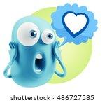 3d rendering surprise character ... | Shutterstock . vector #486727585