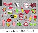 set of contemporary girlish... | Shutterstock .eps vector #486727774