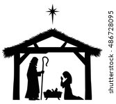 mary  joseph and jesus... | Shutterstock .eps vector #486728095