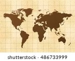 retro world map on yellow old... | Shutterstock .eps vector #486733999