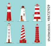 vector set of lighthouses sea... | Shutterstock .eps vector #486737929