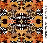 undiscovered africa. seamless...   Shutterstock .eps vector #486740941