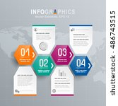 white infographics set with... | Shutterstock .eps vector #486743515