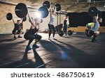 group of young muscular adult... | Shutterstock . vector #486750619