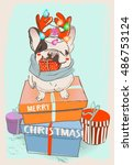 little cute christmas bulldog | Shutterstock .eps vector #486753124