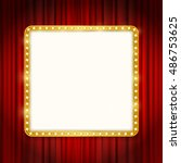 cinema golden square frame with ... | Shutterstock .eps vector #486753625