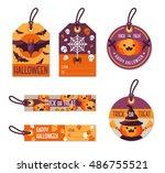 set of different halloween gift ... | Shutterstock .eps vector #486755521