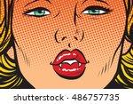 vampire girl lip kiss  pop art...