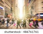 people walking on 7 th av. and... | Shutterstock . vector #486761761