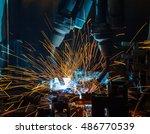 team welding robots represent... | Shutterstock . vector #486770539