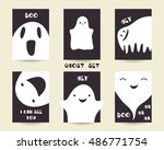 cute hand drawn doodle ghosts... | Shutterstock .eps vector #486771754
