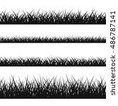 grass silhouette seamless... | Shutterstock . vector #486787141