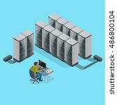 isometric modern web network... | Shutterstock .eps vector #486800104