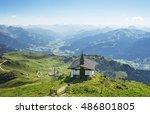 little church on kitzbuhel peak ... | Shutterstock . vector #486801805