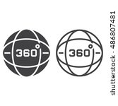 360 degrees view line icon ... | Shutterstock .eps vector #486807481