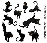 set of black cats. funny black... | Shutterstock .eps vector #486809461
