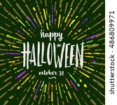 happy halloween   hand drawn... | Shutterstock .eps vector #486809971