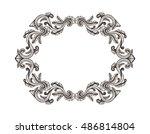 hand drawn vintage damask... | Shutterstock .eps vector #486814804