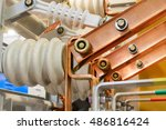 The high-voltage switch, high voltage element of the cell, an electrical isolator. - stock photo