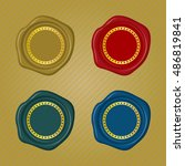 different color wax seals with...   Shutterstock .eps vector #486819841