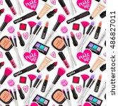 seamless pattern fashion makeup ... | Shutterstock .eps vector #486827011