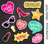 fashion elements in patch style.... | Shutterstock .eps vector #486827059