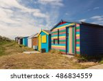 bathing boxes in a beach | Shutterstock . vector #486834559