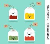 Teabag Cute Emoji Set. Tea Wit...