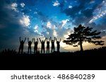 silhouettes of people on... | Shutterstock . vector #486840289