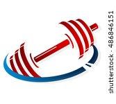 symbol dumbbell in fitness gym   Shutterstock .eps vector #486846151