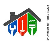 repair of home with a tool  for ...   Shutterstock .eps vector #486846235