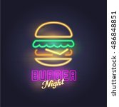 burger neon sign  bright... | Shutterstock .eps vector #486848851