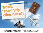 book your trip click now travel ... | Shutterstock . vector #486850369