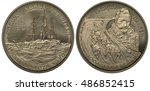 Small photo of Norway, Norwegian coin five ecu 1993 first polar expedition, ship in ice, Fridtjof Nansen, dog sled