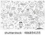halloween sketchy hand drawn... | Shutterstock .eps vector #486854155