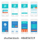 mobile app wireframe ui kit.... | Shutterstock .eps vector #486856519