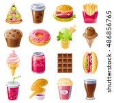 fast food menu vector icon set. ... | Shutterstock .eps vector #486856765