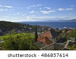 view over postira city on brac... | Shutterstock . vector #486857614