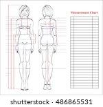 woman body measurement chart.... | Shutterstock .eps vector #486865531