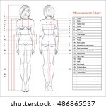 woman body measurement chart.... | Shutterstock .eps vector #486865537