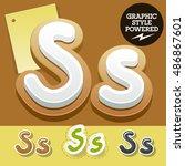 vector set of handwritten... | Shutterstock .eps vector #486867601
