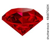 realistic red ruby isolated on... | Shutterstock .eps vector #486870604