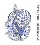 hand drawn asian spiritual... | Shutterstock .eps vector #486873169