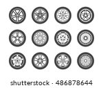 wheel  tyre and tire collection ... | Shutterstock .eps vector #486878644