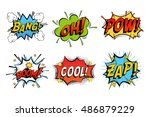 Emotions for comics speech bubble bang and cool, oh or ooh. Onomatopoeia clouds for explosions like boom, punches - pow, cool with stars and zap with lightning. For cartoons and speech bubble | Shutterstock vector #486879229
