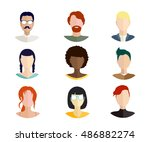 vector icons with women of... | Shutterstock .eps vector #486882274