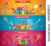 horizontal flat pyrotechnics... | Shutterstock .eps vector #486888811