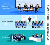 business conference public... | Shutterstock .eps vector #486891241