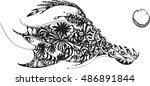 graphic pterodactyl | Shutterstock .eps vector #486891844