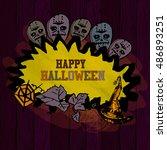 halloween border for design.... | Shutterstock .eps vector #486893251